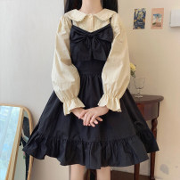 Dress Spring 2021 Average size Middle-skirt singleton  Sleeveless commute High waist Solid color Socket A-line skirt camisole 18-24 years old Type A Korean version