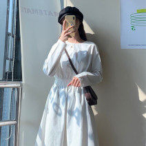 Dress Spring 2021 White, black Average size Mid length dress singleton  Long sleeves commute Crew neck High waist Solid color Socket routine 18-24 years old Type A Korean version