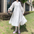 Dress Spring 2021 white Average size Mid length dress singleton  Long sleeves Sweet Doll Collar High waist Solid color Socket A-line skirt Petal sleeve 18-24 years old Type A polyester fiber solar system