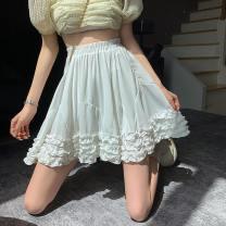 skirt Summer 2021 Average size White, black Short skirt commute High waist A-line skirt Solid color Type A 18-24 years old Korean version