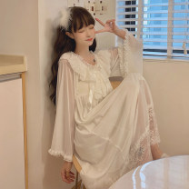 Nightdress Other / other White, pink Average size Sweet Long sleeves Leisure home longuette summer Solid color youth