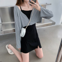 Dress Summer 2021 Grey cardigan piece, black suspender skirt piece Average size Short skirt Two piece set Sleeveless commute High waist Solid color Socket A-line skirt camisole 18-24 years old Type A Korean version