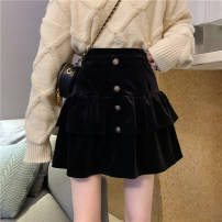 skirt Spring 2021 S,M,L black Short skirt commute High waist A-line skirt Solid color Type A 18-24 years old Korean version