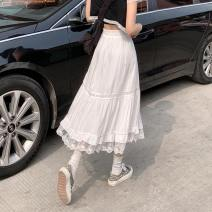 skirt Summer 2021 Average size White, black Mid length dress commute High waist A-line skirt Solid color Type A 18-24 years old Splicing Korean version