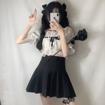 shirt Top, skirt One size fits all, s, m, l Summer 2021 other 30% and below Short sleeve commute Short style (40cm < length ≤ 50cm) square neck Socket puff sleeve Solid color 18-24 years old Self cultivation Korean version