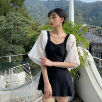 one piece  Tang Tang family swimsuit M,L,XL black With chest pad without steel support female Short sleeve Casual swimsuit
