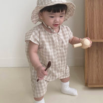 Jumpsuit / climbing suit / Khaki Other / other Class A currency Check, coffee color, hat shop can shoot, not free 73cm,66cm,80cm,90cm cotton summer Short sleeve Short climb Korean version There are models in the real shooting Single breasted lattice