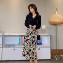 Women's large Spring 2021 Black top, black top, leopard skirt, leopard skirt L [genuine quality assurance], 1XL [genuine quality assurance], 2XL [genuine quality assurance], 3XL [genuine quality assurance], 4XL [genuine quality assurance] MN0341 Blue language