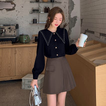 Women's large Spring 2021 black L [genuine quality assurance], 1XL [genuine quality assurance], 2XL [genuine quality assurance], 3XL [genuine quality assurance], 4XL [genuine quality assurance] shirt singleton  commute easy moderate Long sleeves Solid color Ol style routine bishop sleeve MS361H