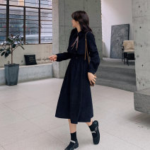Women's large Winter 2020 Black L [genuine quality assurance], 1XL [genuine quality assurance], 2XL [genuine quality assurance], 3XL [genuine quality assurance], 4XL [genuine quality assurance] Dress commute Self cultivation thick Socket Long sleeves Solid color Ol style Polo collar routine LL648HV
