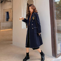 Women's large Winter 2020 Navy in stock L [genuine quality assurance], 1XL [genuine quality assurance], 2XL [genuine quality assurance], 3XL [genuine quality assurance], 4XL [genuine quality assurance] woolen coat singleton  easy thick Cardigan Long sleeves Medium length LW252 Blue language