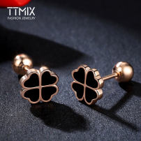 Ear Studs 51-100 yuan Ttmix Silverware Square (golden) heart (golden) Clover (golden) Square (silver) Clover (silver) heart (silver) Japan and South Korea brand new Female Spot Freshly baked Sterling silver inlaid gemstone Love / Water Drops / Bells B33367+B33368+B33369 925 Silver Spring Summer 2017