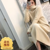 sweater Autumn 2020 S,M,L,XL Off white, black, grey, camel, white Long sleeves Socket singleton  Regular wool 91% (including) - 95% (excluding) High collar thickening commute routine Solid color Straight cylinder Regular wool Keep warm and warm 25-29 years old YZX-002 thread wool