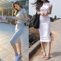 Dress Summer 2021 Gray, white, black S,M,L,XL Miniskirt singleton  Short sleeve commute Crew neck middle-waisted Solid color Socket One pace skirt routine Others 25-29 years old Other / other Korean version 81% (inclusive) - 90% (inclusive) other cotton