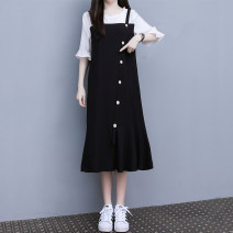Dress Summer 2021 black M,L,XL,2XL,3XL,4XL Mid length dress Fake two pieces Short sleeve commute Crew neck Loose waist Socket Ruffle Skirt routine 25-29 years old Type A Korean version Ruffles, stitching, buttons 81% (inclusive) - 90% (inclusive) other cotton