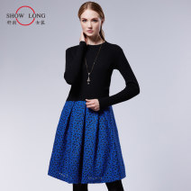 Dress Spring 2021 Color matching S,M,L Mid length dress Two piece set Long sleeves commute Crew neck middle-waisted Decor zipper other routine Others 30-34 years old Type X Show long Ol style Thread, zipper 81% (inclusive) - 90% (inclusive) acrylic fibres