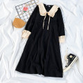 Dress Spring 2021 Black dress S,M,L,XL Mid length dress singleton  Long sleeves commute Doll Collar High waist Solid color other A-line skirt shirt sleeve Others Type A Retro 71% (inclusive) - 80% (inclusive)