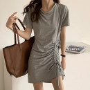 Dress Summer 2021 Gray, black Average size Short sleeve 18-24 years old More than 95% other