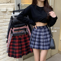 skirt Winter 2020 XS,S,M,L White, black, gray, khaki, dark blue, pink, red black, blue white Short skirt commute High waist Pleated skirt lattice Type A 18-24 years old 71% (inclusive) - 80% (inclusive) Wool polyester fiber fold