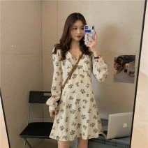 Dress Autumn 2020 Apricot, black Average size Middle-skirt singleton  Long sleeves commute V-neck High waist Decor zipper A-line skirt other Others 18-24 years old Type A Korean version Frenulum 31% (inclusive) - 50% (inclusive) polyester fiber