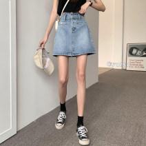 skirt Summer 2021 S,M,L blue Short skirt High waist skirt Type A 18-24 years old 71% (inclusive) - 80% (inclusive) Denim