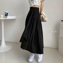skirt Spring 2021 S,M,L White, black longuette commute High waist A-line skirt Solid color Type A 18-24 years old 71% (inclusive) - 80% (inclusive) other Asymmetry