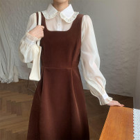 Fashion suit Spring 2021 S. M, average size Black skirt, coffee skirt, rice white shirt, coffee shirt 18-25 years old 30% and below