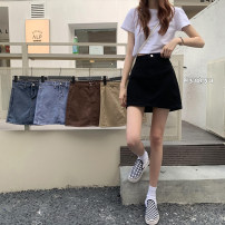 skirt Summer 2021 S,M,L Black, dark blue, light blue, khaki, coffee Short skirt High waist A-line skirt Solid color Type A 18-24 years old 81% (inclusive) - 90% (inclusive) Denim cotton