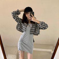 Dress Summer 2021 Black suspender skirt, grey suspender skirt, plaid shirt Average size 18-24 years old
