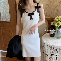 Dress Summer 2021 white Average size Mid length dress singleton  Sleeveless commute High waist Solid color Socket A-line skirt other Others 18-24 years old Type A 81% (inclusive) - 90% (inclusive) knitting