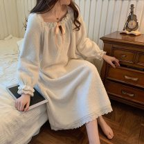 Nightdress Other / other Milky white 160(M),165(L),155(S) Sweet Long sleeves pajamas longuette winter Solid color youth other bow More than 95% other 300g