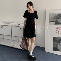 Dress Summer 2021 Black, white, blue Average size Mid length dress singleton  Short sleeve commute Crew neck High waist Solid color Socket A-line skirt other Others 18-24 years old Type A 81% (inclusive) - 90% (inclusive) other