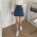 skirt Summer 2021 S,M,L,XL Black, apricot, blue Short skirt commute High waist A-line skirt Solid color Type A 18-24 years old 81% (inclusive) - 90% (inclusive) polyester fiber Splicing