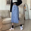 skirt Spring 2021 S,M,L,XL Light blue, black Mid length dress Versatile High waist A-line skirt Solid color Type A 18-24 years old 71% (inclusive) - 80% (inclusive) Denim cotton