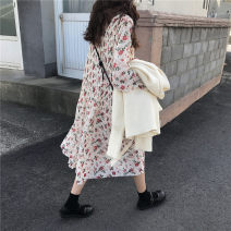 Dress Autumn of 2018 Picture color Average size longuette singleton  Long sleeves commute other Loose waist Broken flowers Socket Pleated skirt other Others 18-24 years old Type H Korean version 31% (inclusive) - 50% (inclusive) Chiffon polyester fiber