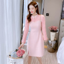 Dress Winter 2020 Pink S,M,L,XL Mid length dress singleton  Long sleeves commute stand collar High waist Solid color Socket A-line skirt routine Others 25-29 years old Type A Retro Bowknot, hollow out, Gouhua, hollow out, stitching, button, zipper, lace 71% (inclusive) - 80% (inclusive) knitting