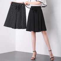 Casual pants Black dot, pure black M,L,XL,2XL,3XL,4XL Pant Wide leg pants Natural waist ultrathin 140QQ-9817 Chen Biao other belt
