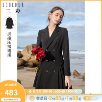 Dress Spring 2021 Black pre sale black 155/80A/S 160/84A/M 165/88A/L 170/92A/XL 175/96A/2XL Short skirt singleton  Long sleeves commute tailored collar middle-waisted Solid color double-breasted A-line skirt routine 25-29 years old Type X Tricolor Simplicity Button D361D3004W00 More than 95% other