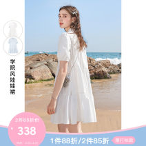 Dress Summer 2021 This white spot this white pre-sale blue 155/80A/S 160/84A/M 165/88A/L 170/92A/XL 175/96A/2XL Short skirt singleton  Short sleeve commute Loose waist Solid color Single breasted Princess Dress puff sleeve 25-29 years old Type A Tricolor lady Button D362G1013L10 More than 95% other