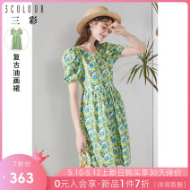 Dress printing Summer 2021 Middle-skirt Short sleeve singleton  commute Crew neck Abstract pattern High waist Condom 25-29 years old puff sleeve A-line skirt More than 95% cotton Type X lady D362I2016L10 Tricolor Cotton 100% Pure e-commerce (online sales only) 155/80A/S 160/84A/M 165/88A/L 170/92A/XL