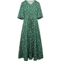 Dress Summer 2020 Green and white 150/76A/XS 155/80A/S 160/84A/M 165/88A/L 170/92A/XL 175/96A/XXL Mid length dress singleton  Short sleeve commute V-neck middle-waisted Single breasted A-line skirt routine 25-29 years old Type X Tricolor lady printing D023945L20M More than 95% polyester fiber
