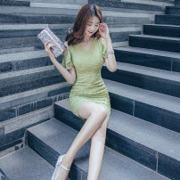 Dress Summer 2021 Light green S,M,L Short skirt singleton  Short sleeve commute V-neck High waist Solid color zipper One pace skirt Lotus leaf sleeve Others 25-29 years old Korean version Ruffles, lace 51% (inclusive) - 70% (inclusive) Lace cotton