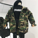 Windbreaker Autumn of 2018 Average size Khaki army green Long sleeves routine Medium length commute zipper Hood routine Korean version 18-24 years old Pocket lace up printed buttons 31% (inclusive) - 50% (inclusive) other