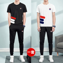 Leisure sports suit summer M,L,XL,2XL,3XL,4XL,5XL Rd01 black, rd01 white, rd01 gray Short sleeve A.D Hepburn trousers youth T-shirt AD09079 other 2019
