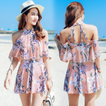 one piece  Morning of the rising sun One size fits all, XL, l, M Blue, pink Skirt one piece Steel strap breast pad polyester fiber female Short sleeve Casual swimsuit other