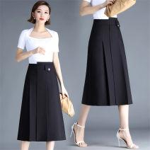 skirt Spring 2021 4XL,3XL,2XL,XL,L,M black Mid length dress Versatile High waist Solid color Type A 35-39 years old cotton Asymmetry