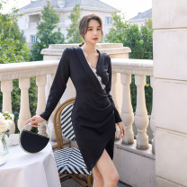 Women's large Autumn 2020, spring 2021, summer 2021 Black, elegant black Dress singleton  commute Self cultivation moderate Conjoined Long sleeves Solid color Retro V-neck Medium length Polyester, Lycra Lycra Collage other 1171-1 Other / other 25-29 years old Lace stitching Medium length zipper