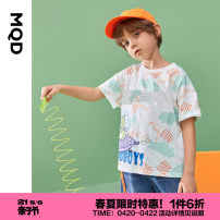 T-shirt MQD 110cm 120cm 130cm 140cm 150cm 160cm male summer Short sleeve Crew neck leisure time cotton Cartoon animation Cotton 100% Class B Spring 2021 3 years old, 4 years old, 5 years old, 6 years old, 7 years old, 8 years old, 9 years old, 10 years old, 11 years old, 12 years old
