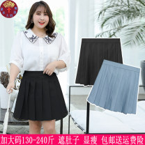 Women's large Spring 2020 Blue, black Big XL, big XXL, big XXXL, 4XL skirt singleton  commute easy thin Solid color lady other Three dimensional cutting y130 25-29 years old zipper 71% (inclusive) - 80% (inclusive) Short skirt Pleated skirt