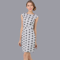 Dress Summer 2021 Black and white XS,S,M,L,XL,2XL,3XL Mid length dress singleton  Short sleeve street Crew neck High waist Broken flowers zipper One pace skirt Type H Thousands of clothes Zipper, lace, print Th-1194 lace Lace other Europe and America